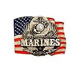 US Marine Corps (USMC) w/FLAG PEWTER BELT BUCKLE