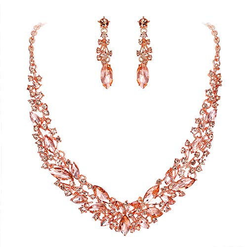 BriLove Wedding Bridal Necklace Earrings Jewelry Set for Women Austrian Crystal Marquise Cluster Collar Necklace Dangle Earrings Set Peach Morganite Color Rose-Gold-Toned