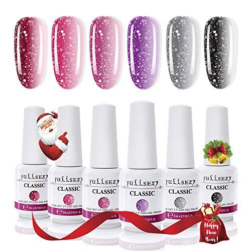 Fullsexy Color Changing Nail Polish, Mood Nail Polish Set Temperature Change Color Set with Gift Box 6 Colors 8ml (Nail Polish Colors Set)