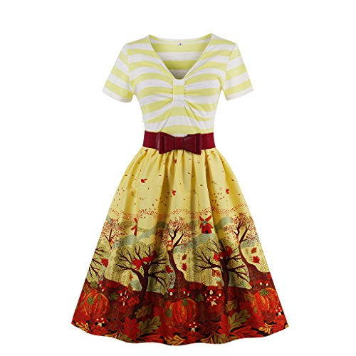 Wellwits Women's V Neck Stripes Fall Pleated Swing Dress with Belt Yellow M -