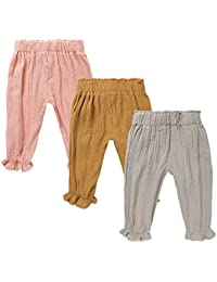 72ed69d96 Baby Boys Girls 3 Pack Cotton Linen Trousers Kids Anti-Mosquito Casual Pants
