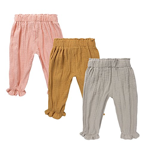 - Mary ye Baby Boys Girls 3 Pack Cotton Linen Trousers Unisex Anti-Mosquito Casual Pants