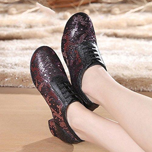 Abby Aq-7010 Femmes Pratique Sneaker Bloc Talon Bout Rond En Cuir Chaussures De Danse Rouge-a