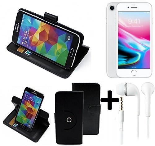 TOP SET: Housse 360° Cover pour Smartphone Apple iPhone 8, noir + Écouteurs | Wallet Case Etui portefeuille de Flip Cover - K-S-Trade (TM)
