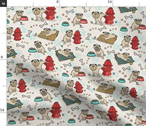 Spoonflower Pug Fabric - Pugs Dog Or Hydrant Day Pet Bones Puppy Cute Humor Bone Paw Print Print on Fabric by The Yard - Minky for Sewing Baby Blankets Quilt Backing Plush Toys