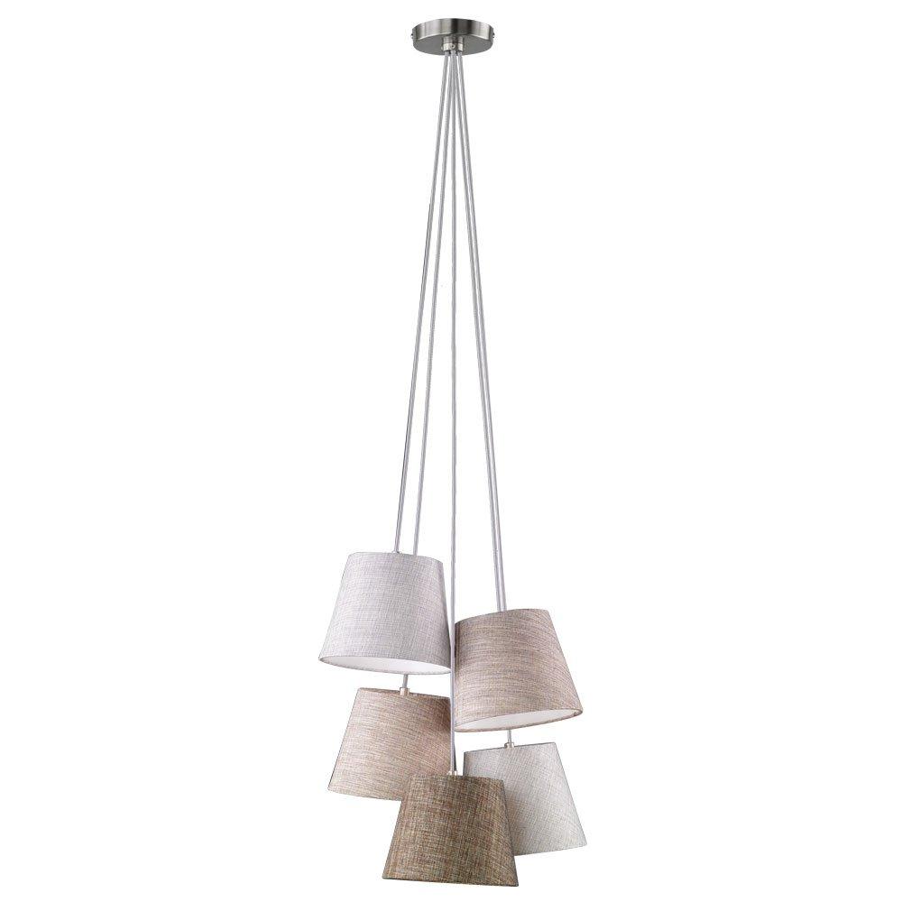 Textil Pendel Leuchte Wohn Ess Zimmer Hänge Decken Lampe braun grau Fischer Leuchten 69245