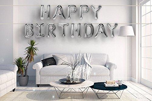 Balloon Birthday Silver (Best-Stuff Silver Aluminum Foil Balloons Banner 16