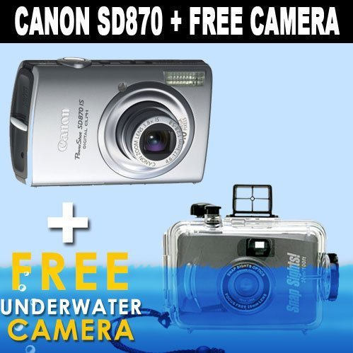 Canon PowerShot SD870IS 8MP Digital Camera with 3.8x Wide Angle Optical Image Stabilized Zoom (Silver) + FREE Intova 35mm Daylight Sports Utility Waterproof Camera