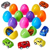 Prextex Easter Eggs Filled with Mini Pull back Vehicles