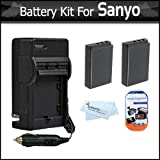 2 Pack Battery and Charger Kit for Sanyo VPC-WH1 VPC-HD2000A Xacti HD1000 High Definition Camcorder Includes 2 Extended (1850 mah) Replacement Sanyo DB-L50AU Batteries + AC/DC Travel Charger + More