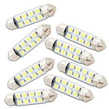 "Zone Tech 8pcs 42mm 8-smd 1.72"" 12v Festoon Dome Light LED Bulbs 211-2 212-2 569 578 - White"
