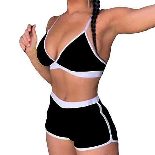 Hongxin Damen Bikini Set Split Bademode Spleiß Farbe Badeanzug Sexy V-Ausschnitt Schlinge Swimwear Strandkleidung Spa Baden B