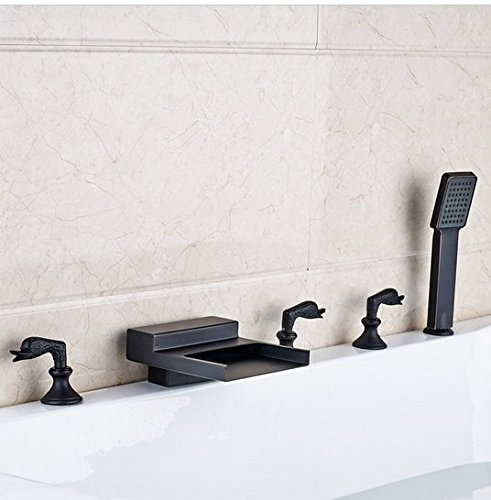 GOWE Deck Mounted Bathroom Tub Sink Faucet Widespread Waterfall Roman Bathtub Mixer Tap with Handshower color:style 1 0