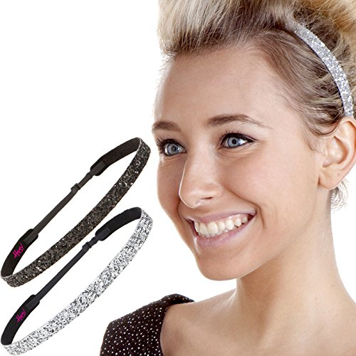 (Hipsy 2pk Women's Adjustable NON SLIP Skinny Bling Glitter Headband Silver Duo Pack (Silver & Black) )