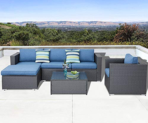 Solaura Outdoor Furniture Set 6-Piece Wicker Furniture Modular Sectional Sofa Set Grey Wicker Olefin Fiber Soft Blue Cushions & Sophisticated Glass Coffee Table with Fabric ()