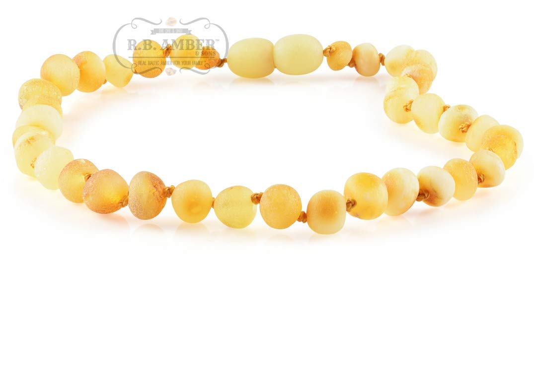 Premium Grade Amber Teething Necklace - POP CLASP - Hand Crafted Baltic Amber Teething Necklace in 3 Sizes - Teething Relief for Baby and Child (12-13 inches, Unpolished Butter) by R.B. Amber & Sons