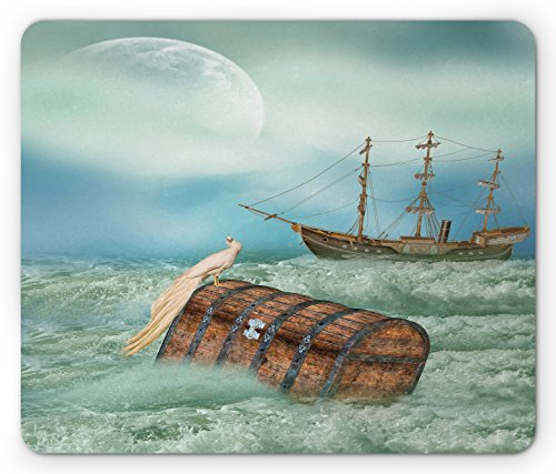 Fantasy Mouse Pad by Ambesonne, Antique Old Trunk in Ocean Waves with Magic Bird Pirate Boat Picture, Standard Size Rectangle Non-Slip Rubber Mousepad, Mint Green Pale Caramel