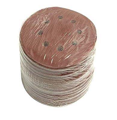 100 Pack Sanding Discs 5 Inch - 8 Holes - Hook & Loop Backing - LINE10 Tools