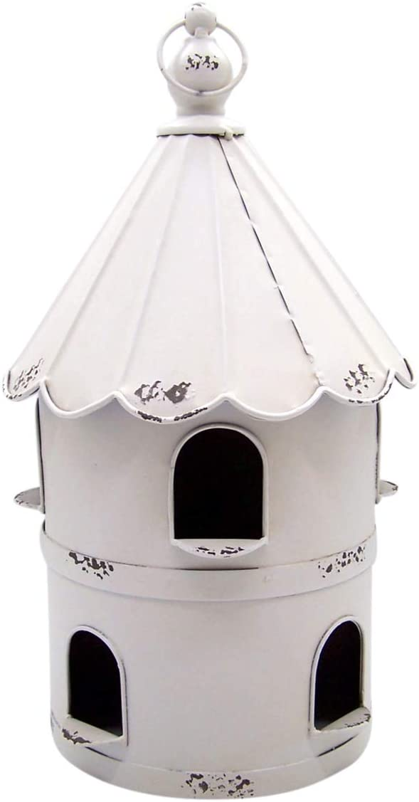 Wowser Rustic Tin Round Bird Condo Birdhouse, 16 Inch