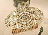 Art Deco Gold Pave Rhinestone Bridal Headpiece, Large 1920s Style Brooch to Hair Comb
