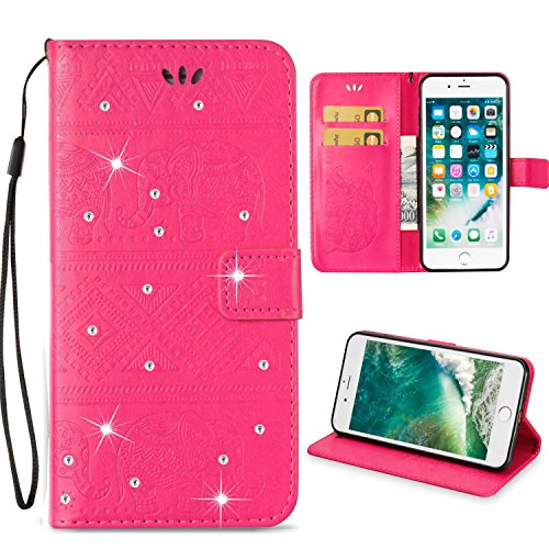 iPhone 6S Plus Case,Berry Accessory Beauty 3D Fashion Wallet PU Leather Printing Aztec Elephant Pattern [Credit Card Slot] Flip Cover Case for iPhone 6 Plus / 6S Plus (Hot Pink/Bling)