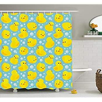 Happy Baby Rubber Duck and Bubbles Cartoon Pattern Childhood Kids Decor  Animal Art  Polyester Fabric Bathroom Shower Curtain Set with Hooks  Aqua  YellowAmazon com  Rubber Duck Shower Curtain Set by Ambesonne  Cute  . Yellow And Teal Shower Curtain. Home Design Ideas