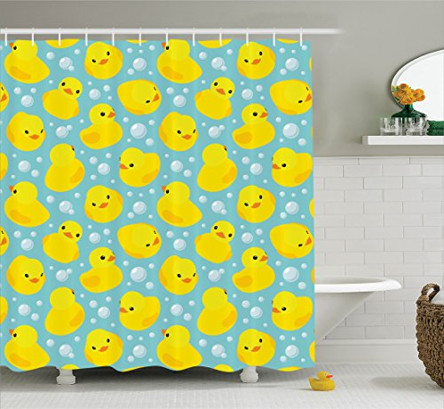 Ambesonne nursery decor Collection, Cute Happy Baby Rubbe...