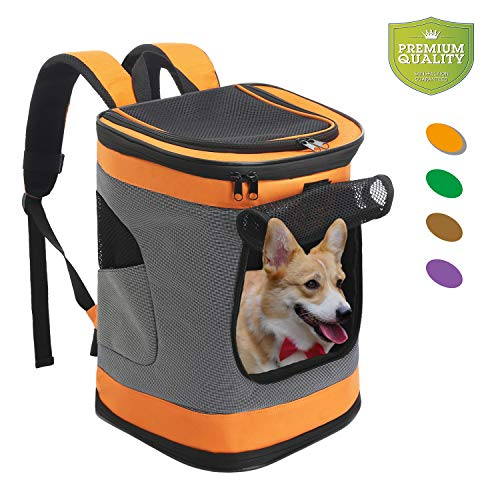 Pet Carrier Backpack for Small Medium Dogs Cats, Airline Approved Bag with Mesh Windows for Travel, Hiking, Outdoor up to 20LBS, Orange