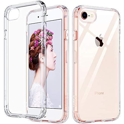 (ULAK Slim Ultra Clear iPhone 8 Case, iPhone 7 Case 4.7 Inch, Hybrid TPU PC Shock-Absorption Anti-Scratch Bumper Hard Back Cover (HD Crystal Clear))