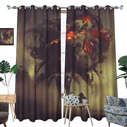 Blackout Curtains for Bedroom Man Holding Twin Swords Standing with Giant Smoke Monster W84 x L108 Drapes