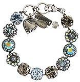 "Mariana Silvertone Large Flower Shapes Crystal Bracelet, 7"" Martini Blue Grey Iridescent 4084 215-3"