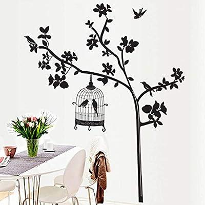 QWERGLL Etiqueta de la Pared Extraíble Jaula de pájaros y árbol ...
