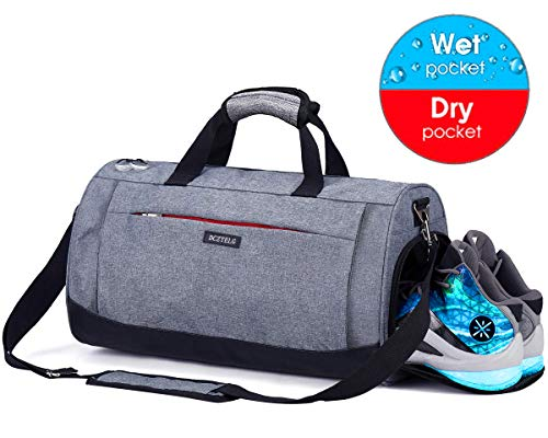 Sports Gym Bag with Shoes Compartment and Wet Pocket,Training Yoga Travel Holdall Duffle Bag for Men and Women (Grey)