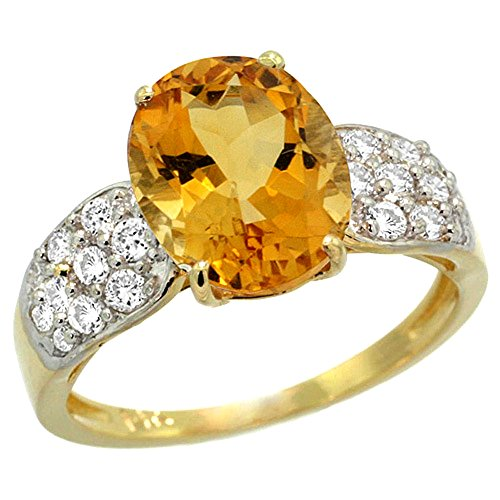 Oval Citrine Diamond Accent Ring - 14k Yellow Gold Natural Citrine Ring Oval 10x8mm Diamond Accent, 7/16inch wide, size 10