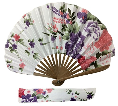 - Rangebow Ascot Style Elegant Silk Fabric Hand Fan White AS07