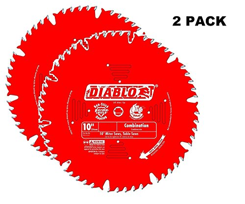 2 PACK Freud D1050X Diablo 10-Inch 50-tooth ATB Combination Saw Blade with 5/8-Inch Arbor and PermaShield Coating ()