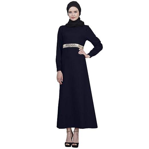 8a55310f10acf Amazon.com: Sunyastor Women Muslim Maxi Dress Long Sleeves Sequins ...