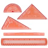 Larkpad Soft Plastic Rulers 8-inch, 180 Degree Protractor, 2 Triangle and 1 Wave, 5 in 1 Pack Flexible Rulers, inches and Metric, for Office or School,Pink