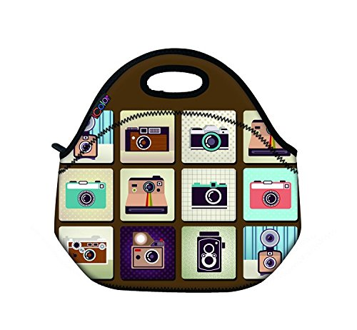 Price comparison product image Cameras Design Boys Girl Kids School lunch Bag LUNCHBOX Tote Pouch Cooler Food Bag Shopper Tote