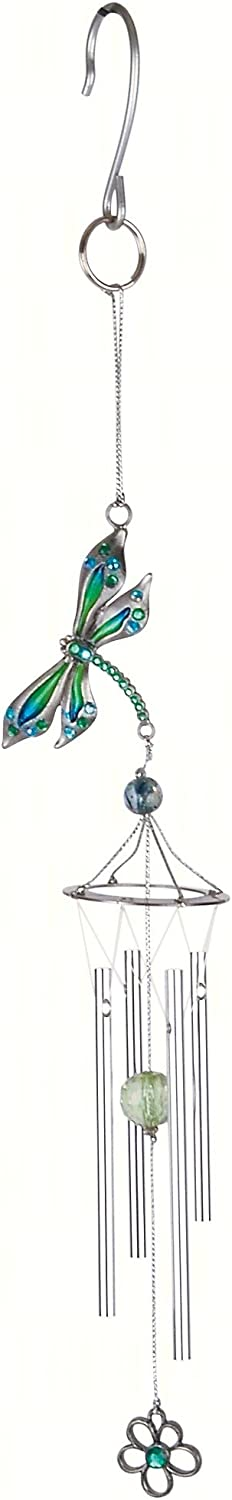 Carson Home Accents CHA63153 Pewterworks Dragonfly Crystal Wind Chime