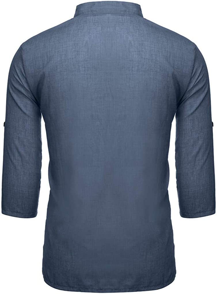 Mens Shirts Henley Neck Button Down 3//4 Sleeve Loose Cotton Linen T-Shirt Casual Beach Pullover Tops with Chest Pocket