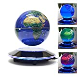V.one World Globe Electronic Magnetic Levitation Globe Luminous Multi-Color LED Display 360 Degree Rotating for Desktop Office Home Decor Kids Educational (6 inch with UK Plug)
