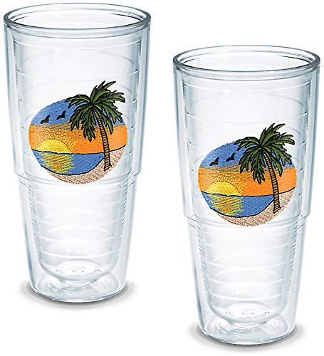 (Tervis Tumbler Palm Tree Scene 24-Ounce Double Wall Insulated Tumbler, Set of)