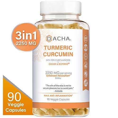 (DACHA Tumeric Curcumin Supplement - 2250mg Arthritis Joint Support Supplements Turmeric with Black Pepper Bioperine Ginger 95% Curcuminoids Anti Inflammatory Capsules Antioxidant Back Pain Relief)