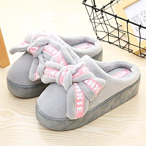 CWAIXXZZ pantofole morbide Il cotone pantofole pacchetto femmina con tacco alto spessore invernale calda coperta spessa home, un lussuoso pantofole inverno anti-slittamento ,37-38 adatto per 36-37 met