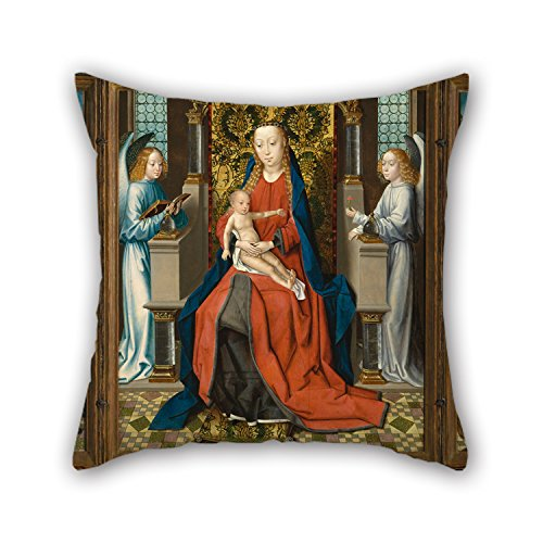 [Artistdecor Throw Cushion Covers Of Oil Painting Master Of The St. Lucy Legend - Triptych Of Madonna And Child With Angels; Donor And His Patron Saint Peter Martyr; And Saint Jerome,for] (Madonna Material Girl Pink Dress Costume)