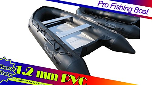 BPM-BOATS HEAVY DUTY!! BLACK 1.2mm PVC 12.5 ft Inflatable motor Boat Fishing Dive Rescue Boat Dinghy...