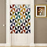 YJBear Cotton Linen Colorful Triangle Printed Doorway Curtain Home Decoration Door Curtain Bedroom Curtain Kitchen Curtain 2 Panels Set, 33.46″ X 35.43″
