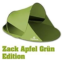 Pop up Strandmuschel Zack II von outdoorer, grün, hoher Sonnenschutz UV 60 für Urlaub mit Kindern am Meer und See