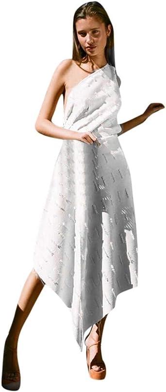 TWISFER seksowna damska sukienka koktajlowa bez rękawÓw, na ramię, bez plecÓw, nieregularna sukienka koktajlowa, elegancka sukienka na imprezę: Odzież
